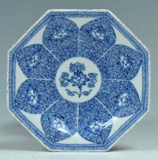 A Good Antique Chinese 18th C Blue And White Octagonal Little Plate Kangxi photo