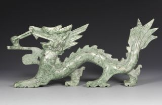 Chinese Old Jade Wonderful Handwork Carving Dragon Statue Decoration photo