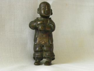 Edo Period Japanese Okimono Bronze Of A Karako photo