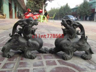 Folk Old Classic Brass Feng Shui Foo Dog Brave Troops Kylin Beast Pair 16 photo