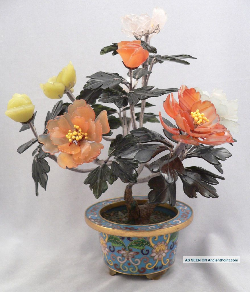 Vintage Jade & Hardstone Bonsai Tree W/ Flowers In Cloisonne Pot Asian Chinese? Other photo