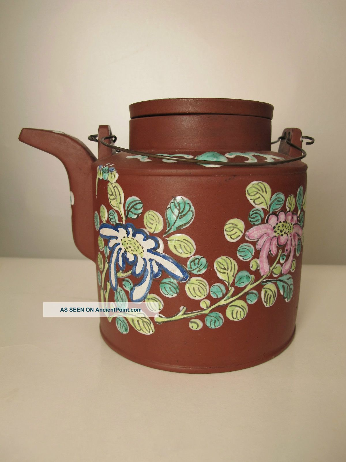 Very Fine Antique Chinese Yixing Clay Teapot With Enamel Docoration Teapots photo