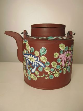 Very Fine Antique Chinese Yixing Clay Teapot With Enamel Docoration photo