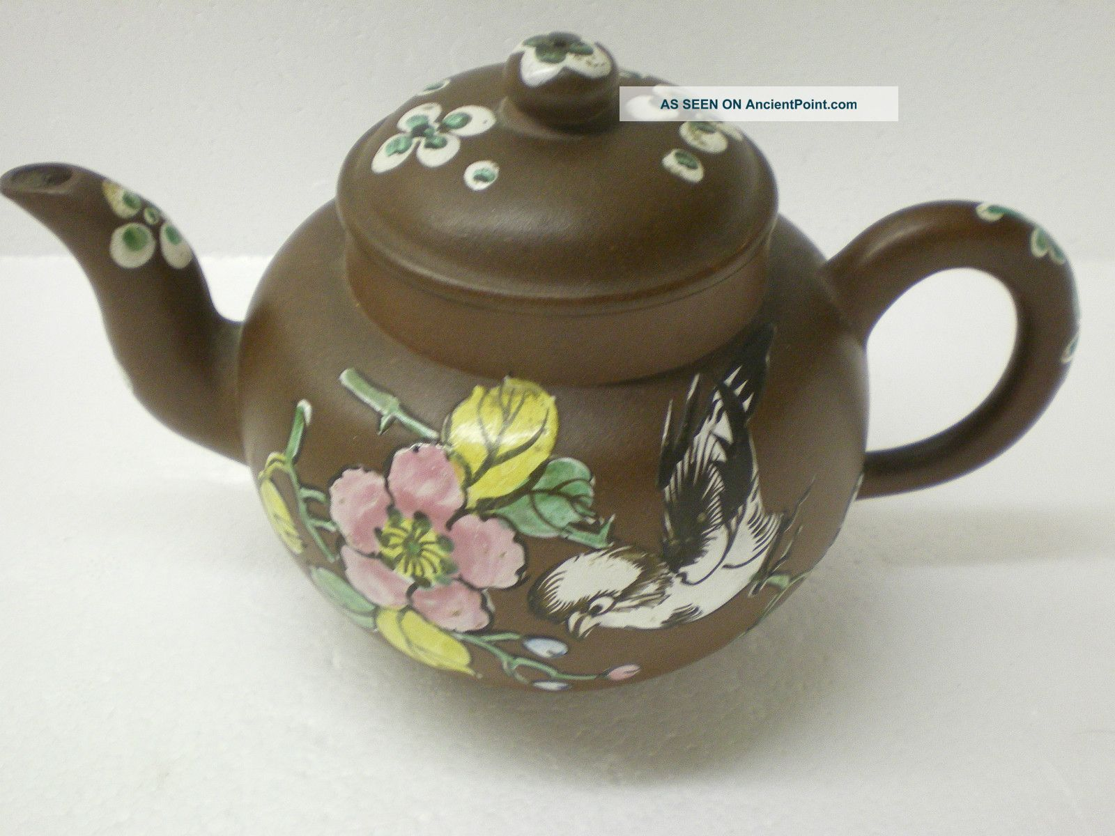 Antique Chinese Yixing Clay Teapot With Enamel Decoration Teapots photo