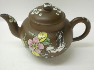 Antique Chinese Yixing Clay Teapot With Enamel Decoration photo