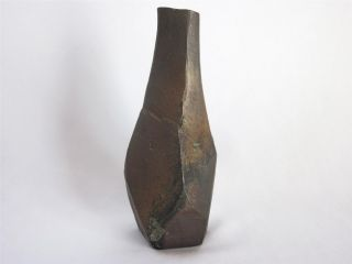 Japanese Vintage Bizen Ware Vase W/sign; Tasteful Chamfered Shape/ Rare/ 463 photo