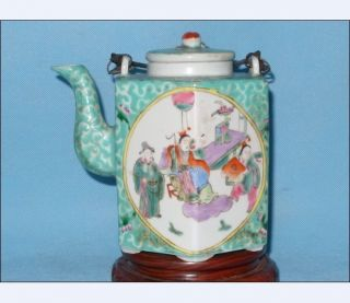Beatiful/antique Chinese Famille Rose Porcelain Hexagonal Teapot photo