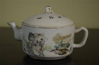 Chinese Famille Rose Teapot 19th Century photo