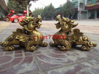 Chinese Palace Brass Evil Spirits Door Beast Foo Dog Lion Kylin Pair 27 photo