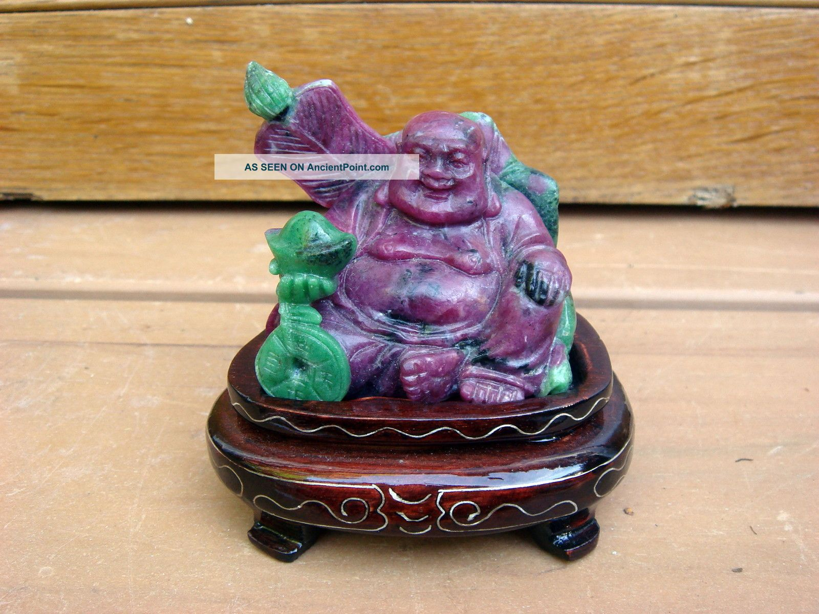 Antique 20c Chinese Asian Ruby Zoisite Carving Seated Buddha Statue On Stand Buddha photo