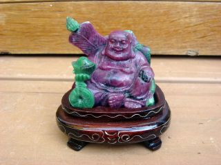 Antique 20c Chinese Asian Ruby Zoisite Carving Seated Buddha Statue On Stand photo