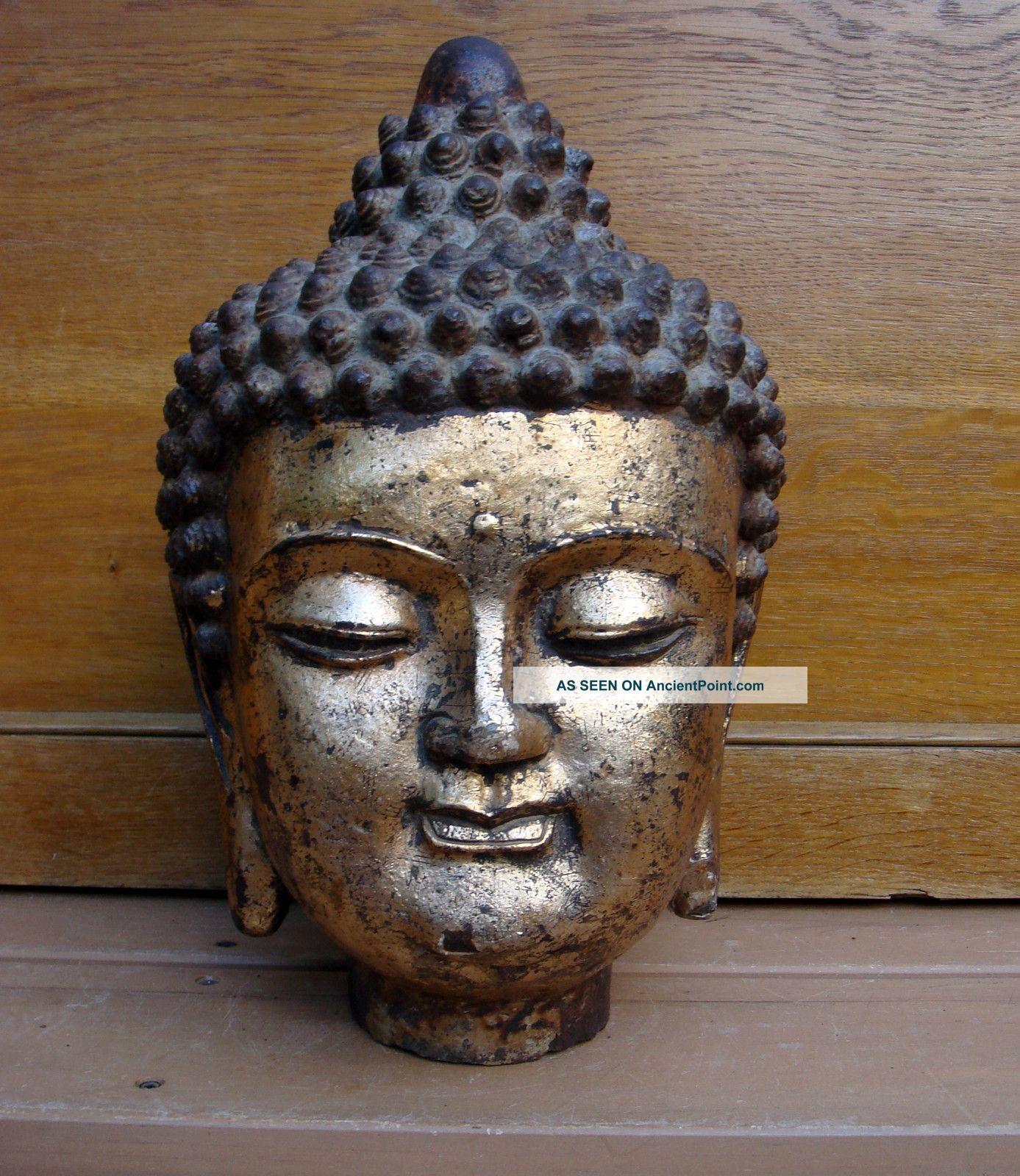 Antique Chinese Asian 19c Cast Iron Buddha Statue Bust Head Buddha photo