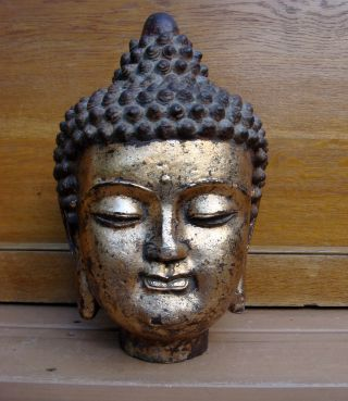 Antique Chinese Asian 19c Cast Iron Buddha Statue Bust Head photo