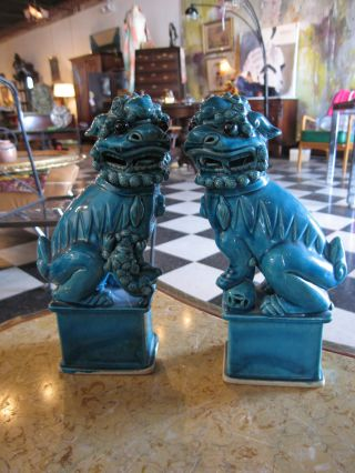 Antique Pair Of Chinese Porcelain Foo / Fu Dogs W/ Blue Glaze photo