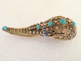 Antique Big G.  Sterling Silver Filigree Enameled Turquoise Elephant Head Brooch photo