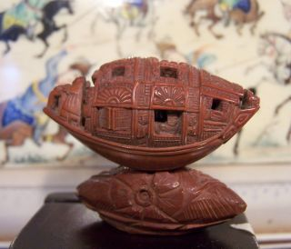 Antique Chinese Coquilla Nut Carving Boat & Poem & Stand Detailed Work photo