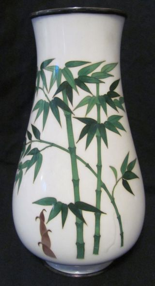 Fine Early 20thc Japanese Cloisonne Vase With Bamboo Decoration photo