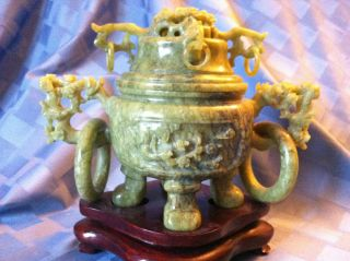 Antique Chinese Jade Incense Burner,  Late 19th C photo
