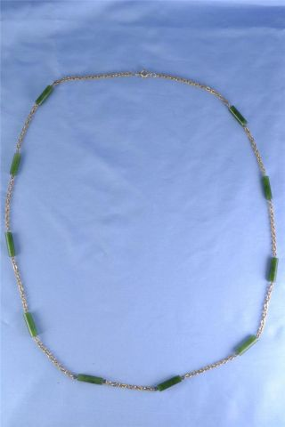 Antique Art Deco & Gilded Silver & Carved Green Jade Necklace C1930 photo