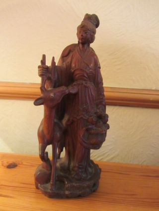 Beautifully Carved Antique 19th Century Chinese Figurine Woman With Deer Stag photo