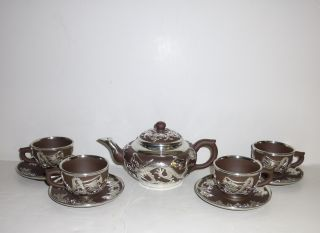 Antique Chinese Qing Dynasty Signed Pottery Tea Set For 4 Silver Dragon Overlay photo