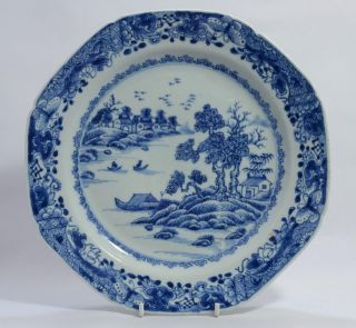 18thc Chinese Blue & White Hexagonal Plate C1770 - Landscape Pattern A/f photo