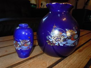 Floral And Peacock Blue Vases 6