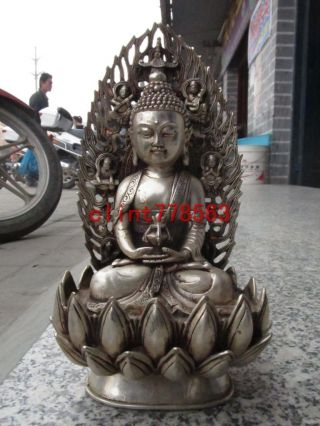 Tibet Buddhism Silver Carved Sakyamuni Buddha Statue 22 photo