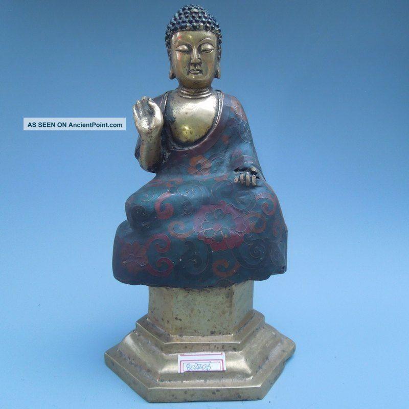 19th.  C.  Chinese Bronzes Tibet Fine Cloisonne Buddha Statue Nr Buddha photo