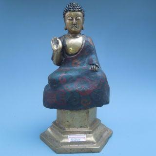 19th.  C.  Chinese Bronzes Tibet Fine Cloisonne Buddha Statue Nr photo