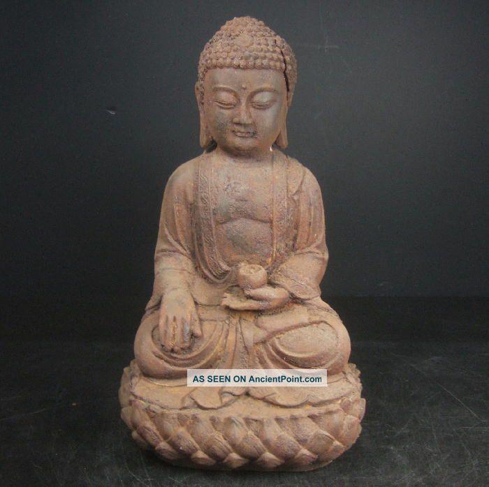 F751: Chinese Iron Ware Buddhist Statue With Very Good Iron Taste Big Size Buddha photo