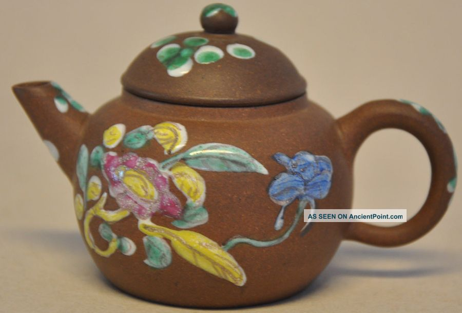 Antique Chinese Yixing Teapot Enamelled Flowers On Brown Fond Teapots photo