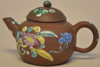 Antique Chinese Yixing Teapot Enamelled Flowers On Brown Fond photo
