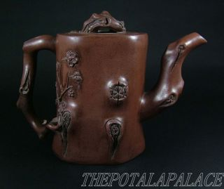 Fine Chinese Yixing Stoneware Teapot Artist Signed Unique Tree Trunk Style photo