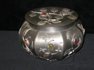 Antique Vintage Chinese Large Pewter Covered Box Or Caddy W/ Stones,  China photo