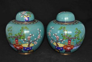 A Pair Of Antique Chinese Cloisonne Ginger Jars photo