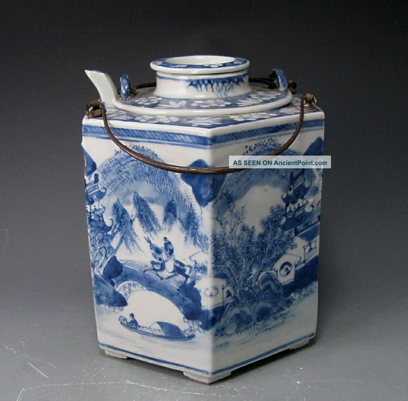 Unusual Antique Blue And White Chinese Porcelain Teapot And Caddie Teapots photo