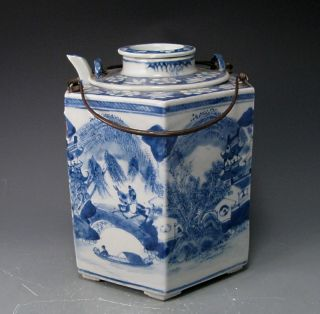 Unusual Antique Blue And White Chinese Porcelain Teapot And Caddie photo