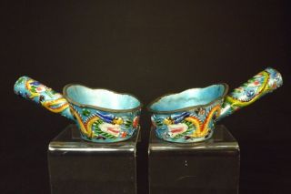 Pair Of Antique Chinese Enamel On Metal Miniature Irons photo