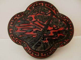 Chinese Carved Black Red Cinnabar Lobed Lacquer Box And Cover photo