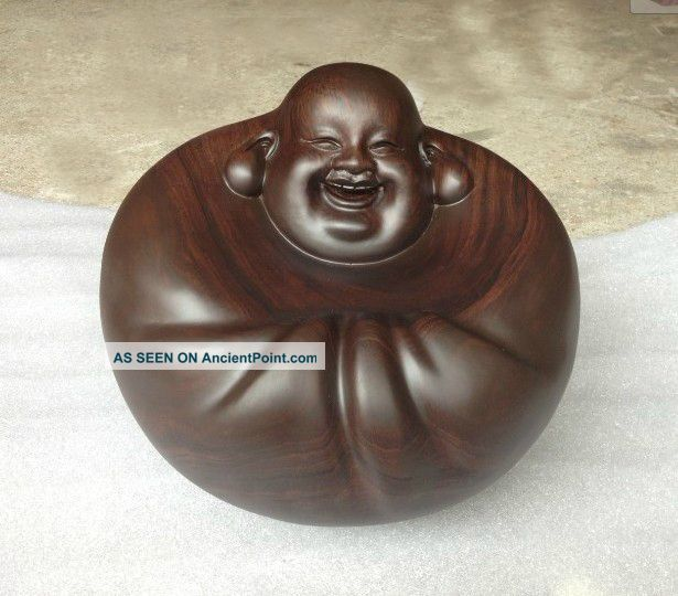 Chinese Heitan Wood Carved Ebony Happy Buddha Statue Sculpture Amulet Netsuke Buddha photo