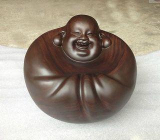 Chinese Heitan Wood Carved Ebony Happy Buddha Statue Sculpture Amulet Netsuke photo