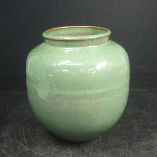 F752: Japanese Old Shigaraki Pottery Flower Vase With Good Green Glaze. photo