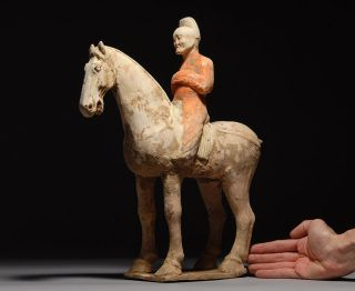Ancient Chinese Tang Dynasty Pottery Terracotta Horse & Rider photo