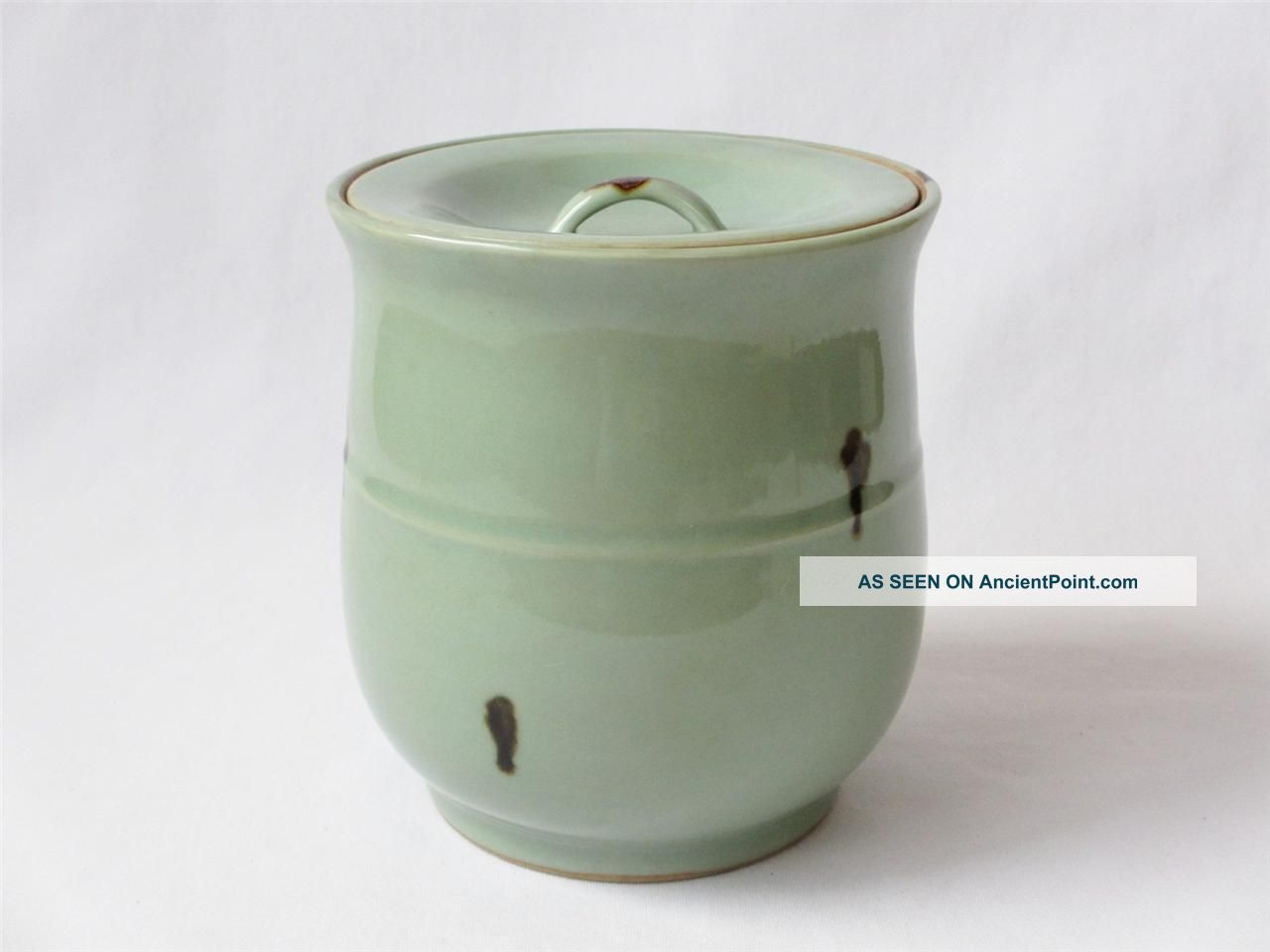 Japanese Pottery Vintage Celadon Water Jar Mizusashi W/sign; Tobi - Seiji/ 923 Other photo