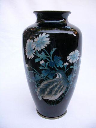 Vintage Japanese Cloisonne Silver Wire Enamel Quail Vase photo