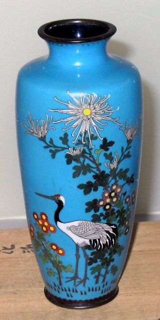 Meiji Period Japanese Cloisonne Vase W/ Red Crested Crane - Silver Wire - No Res photo