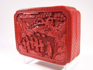 Finest Quality 19c Chinese Export Cinnabar Lacquer Box Large 9