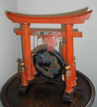An Early 20thc Oriental Red Lacquer Table Gong Styled As A Chinese Temple photo