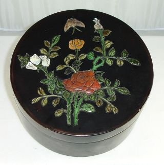 Antique Chinese Lacquer Box W/ Carved Shoushan,  Ox Bone & M.  O.  Pearl Inlay photo
